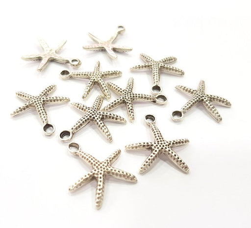 10 Starfish Charm Silver Charm Antique Silver Plated Metal (17 mm)  G15699