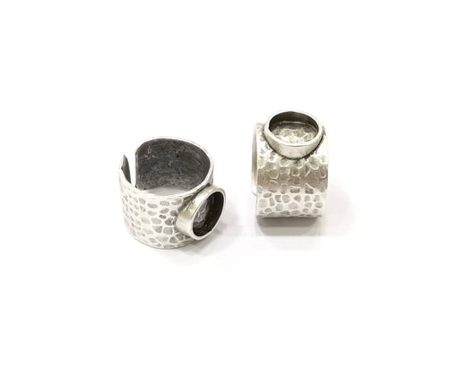 18mm silver plated bezel ring blanks with a cutout band A99