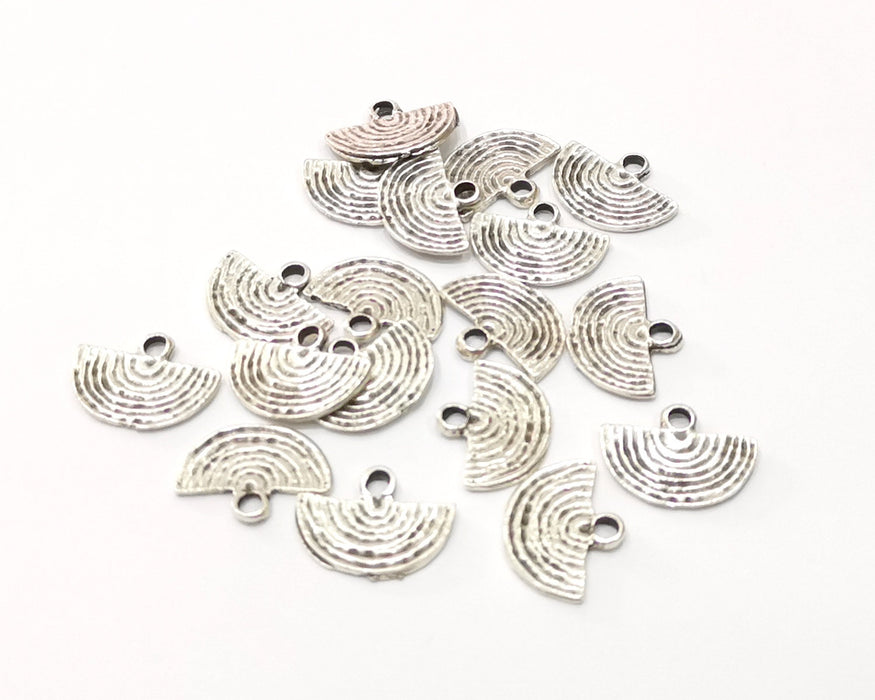 20 Semi Circle Charms Antique Silver Plated Charms (14x11mm)  G16527