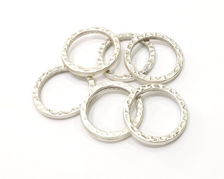 6 Hammered Circle Charm Antique Silver Plated Metal (21 mm)  G16575
