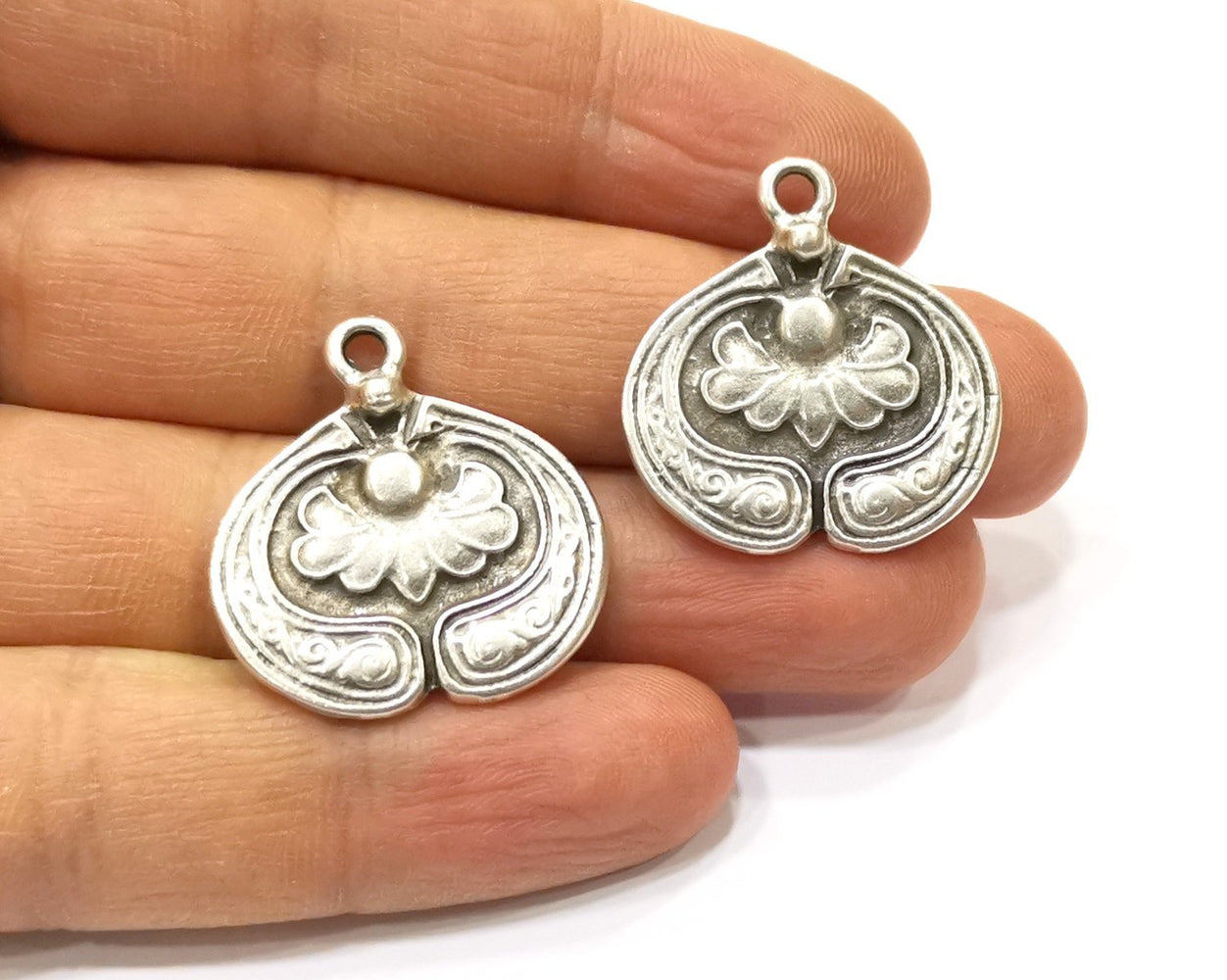 2 Silver Charms Antique Silver Plated Charms (28x27mm)  G16562