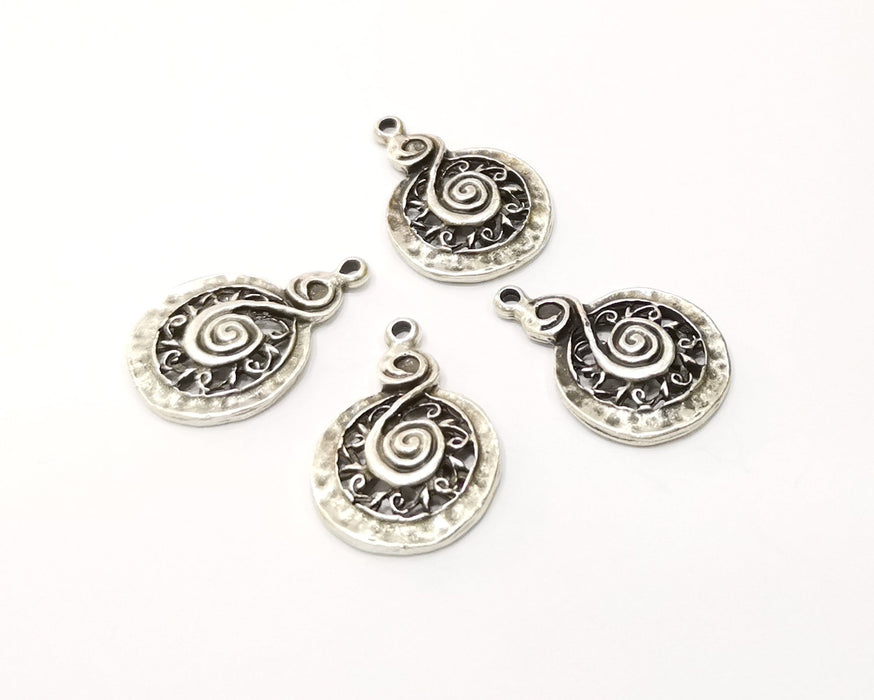 4 Silver Charms Antique Silver Plated Charms (26x18mm)  G19546