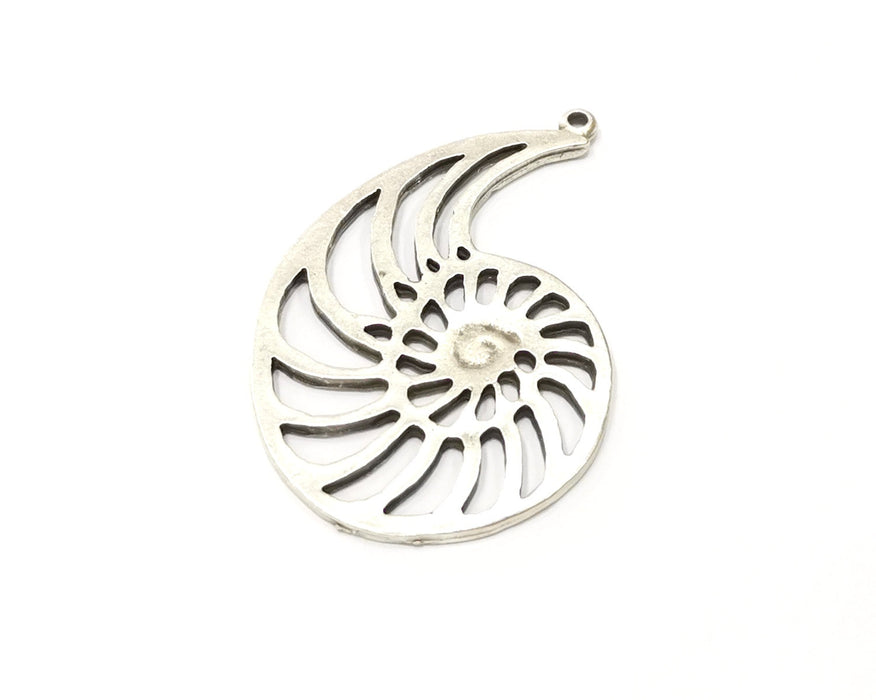 2 Ammonite Charms Antique Silver Plated Charms (50x34mm)  G16570