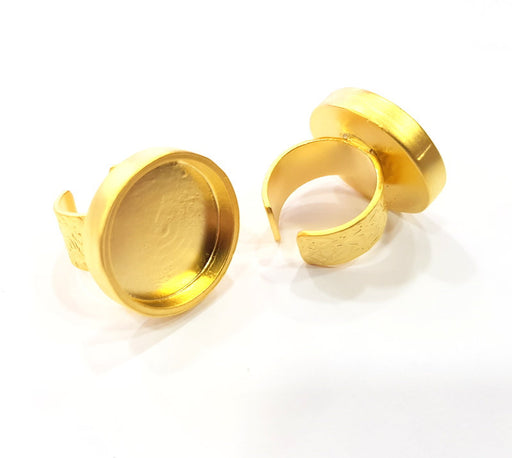 Gold Ring Blank Setting Cabochon Base inlay Ring Backs Mounting Adjustable Ring Base Bezel (22mm blank ) Gold Plated Metal G15781