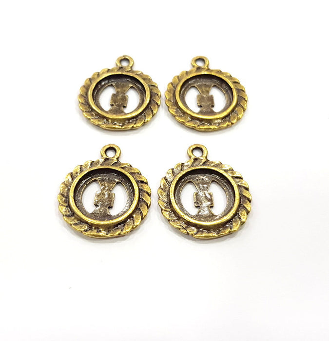 8 Antique Bronze Charm Antique Bronze Plated Metal  (20mm) G15882