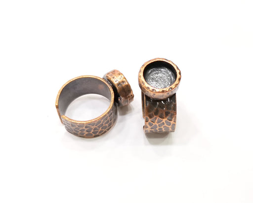 Copper Ring Blank Setting Cabochon Base inlay Ring Backs Mounting Adjustable Ring Base Bezel (10mm blank) Antique Copper Plated G16829