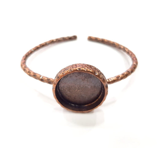 Bracelet Blank Cuff Bezel Resin Bangle inlay Blank Glass Cabochon Base Bezel Hammered Adjustable Antique Copper Bracelet (20mm Blank) G15978