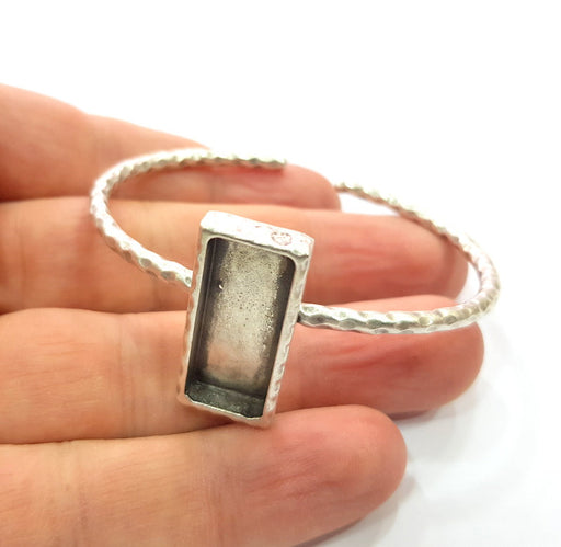 Bracelet Blank Cuff Bezel Resin Bangle inlay Blank Glass Cabochon Base Bezel Hammered Adjustable Antique Silver Bracelet (25x10mm ) G16023
