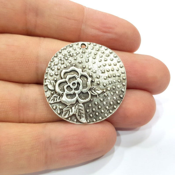2 Flower Charms Antique Silver Plated Charms (33mm)  G16160