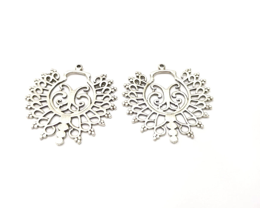 2 Silver Charms Antique Silver Plated Charms (42x41mm)  G17080