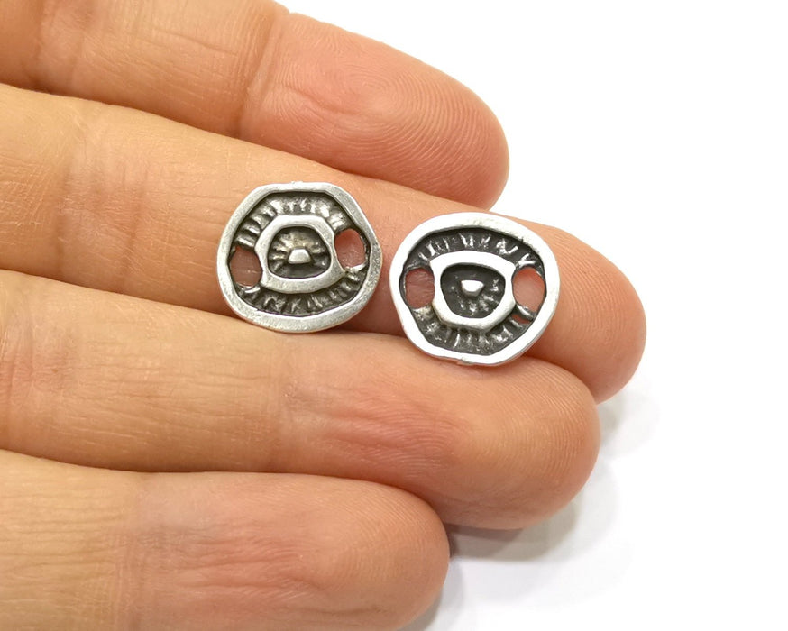 10 Silver Charms Connector Antique Silver Plated Charms (15x14mm)  G17083
