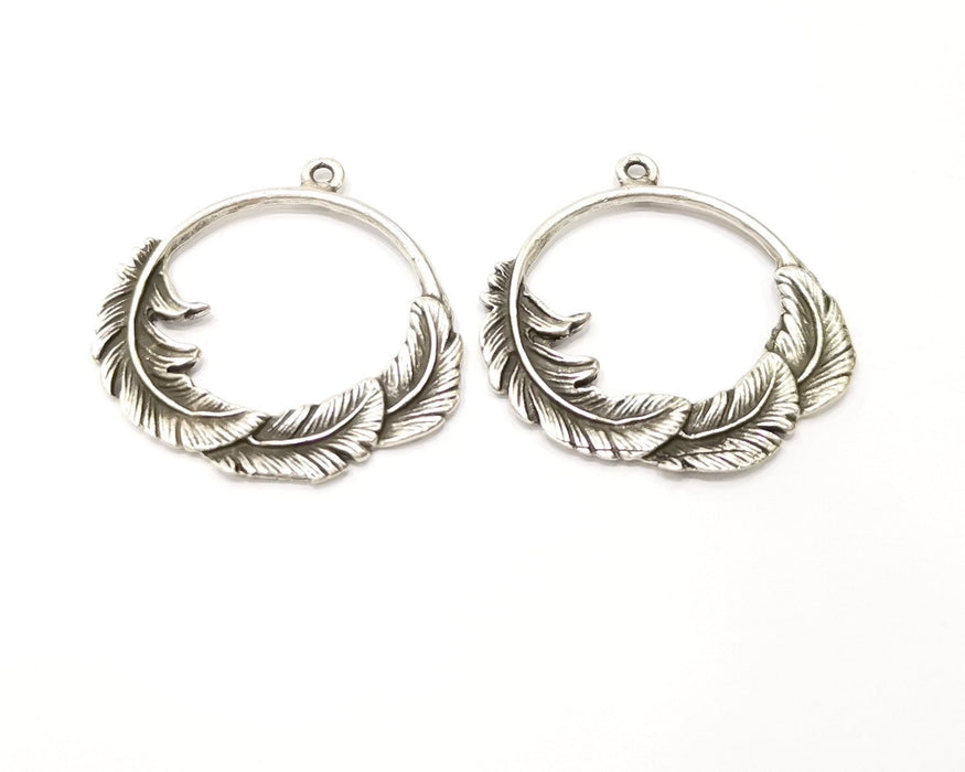 40 Leaf Charms Antique Silver Plated Charms (37mm)  G17099