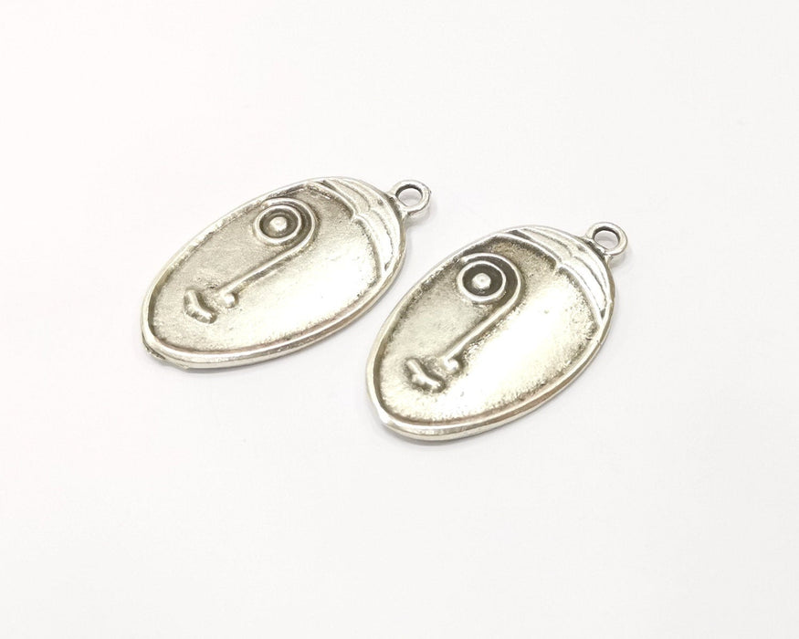 2 Silver Charms Antique Silver Plated Charms (38x21mm)  G17101