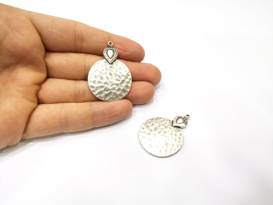 2 Silver Hammered Charms Antique Silver Plated Charms (41x29mm)  G17110
