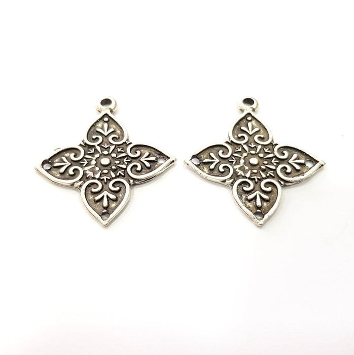 2 Silver Charms Connector Findings Antique Silver Plated Metal Charms (36x33mm)  G16302