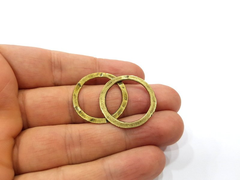 16 Circle Connector Findings Antique Bronze Plated Findings (27mm) G16244