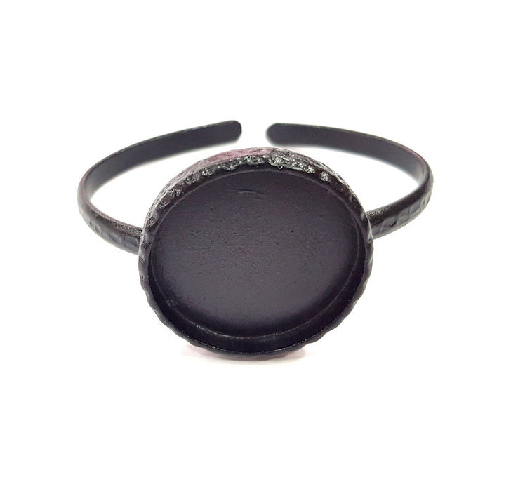 Black Bracelet Blank Cuff Bezel Resin Bangle inlay Blank Glass Cabochon Base Bezel Hammered Adjustable Black Bracelet (30mm ) G16280
