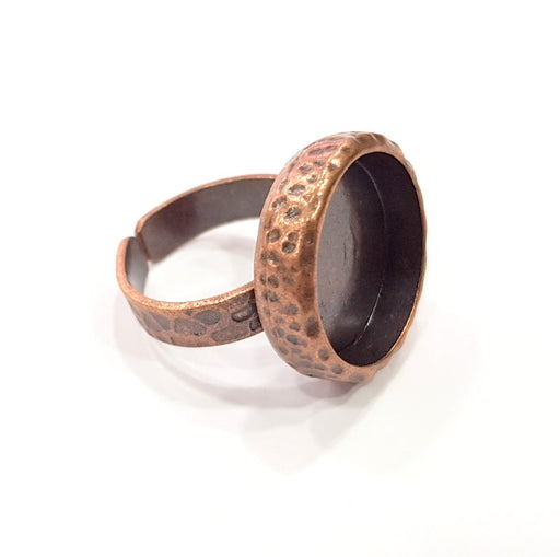 Copper Ring Blank Setting Cabochon Base inlay Ring Backs Mounting Adjustable Ring Base Bezel (16mm blank) Antique Copper Plated G16308