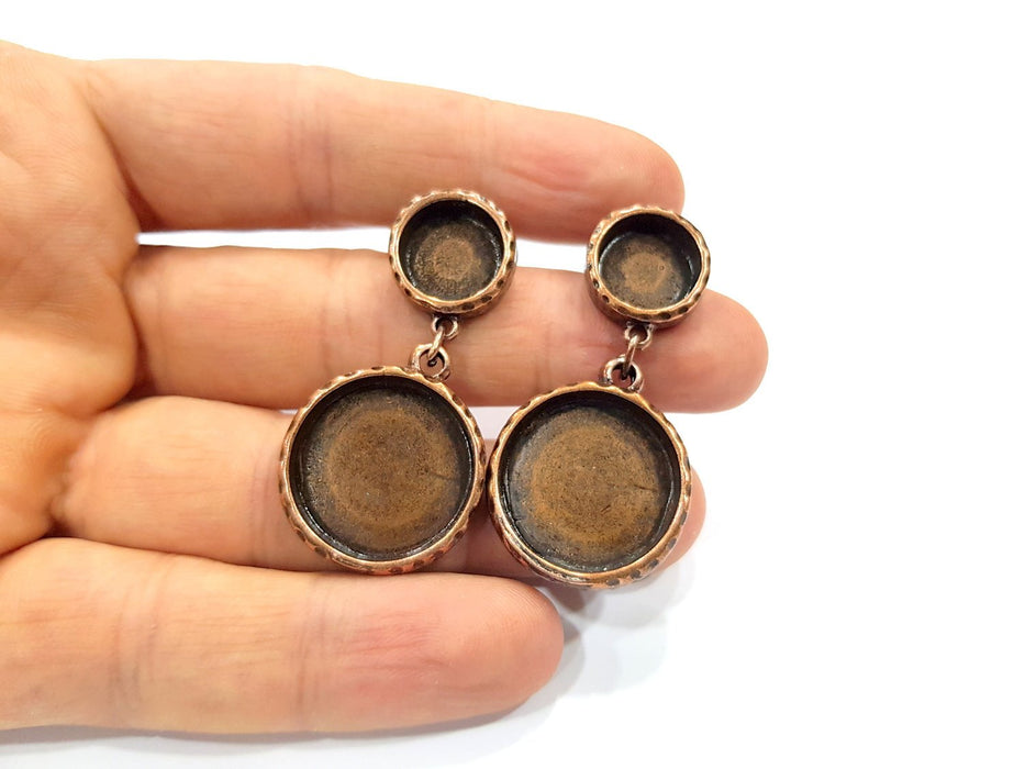 Round Earring Blank Backs Base Copper Resin Blank Cabochon Base inlay Mountings Antique Copper Plated (12mm+20mm) 1 Pair G16430