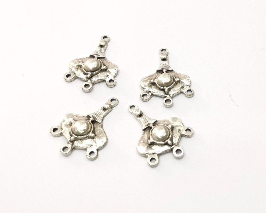 6 Silver Charms Connector Antique Silver Plated Charms (25x17mm)  G18463