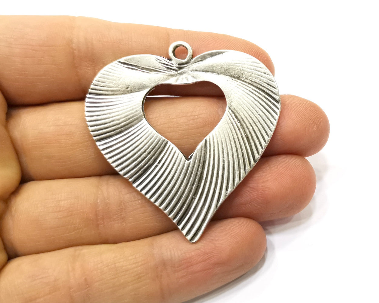 Heart Pendant Antique Silver Plated Pendant (50x48mm) G16752