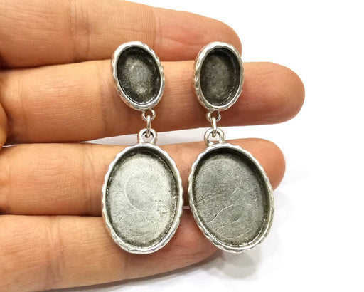 Earring Blank Backs Silver Base Setting Hammered Resin Blank Cabochon Base inlay Mounting Antique Silver Plated (25x18+14x10mm)1 Pair G17467