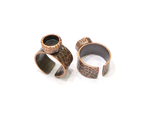Copper Ring Blank Setting Cabochon Base inlay Ring Backs Mounting Adjustable Ring Base Bezel (8mm blank) Antique Copper Plated G16825