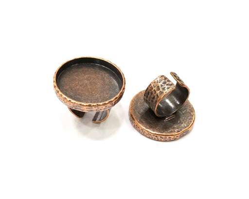 Copper Ring Blank Setting Cabochon Base inlay Ring Backs Mounting Adjustable Ring Base Bezel (30mm blank) Antique Copper Plated G16846