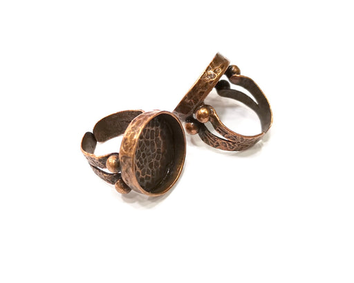 Copper Ring Settings inlay Ring Blank Mosaic Ring Bezel Base Cabochon Mountings (20 mm blank) Antique Copper Plated Brass  G17021