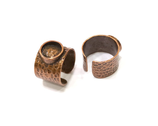 Copper Ring Settings inlay Ring Blank Mosaic Ring Bezel Base Cabochon Mountings (10 mm blank) Antique Copper Plated Brass  G17030