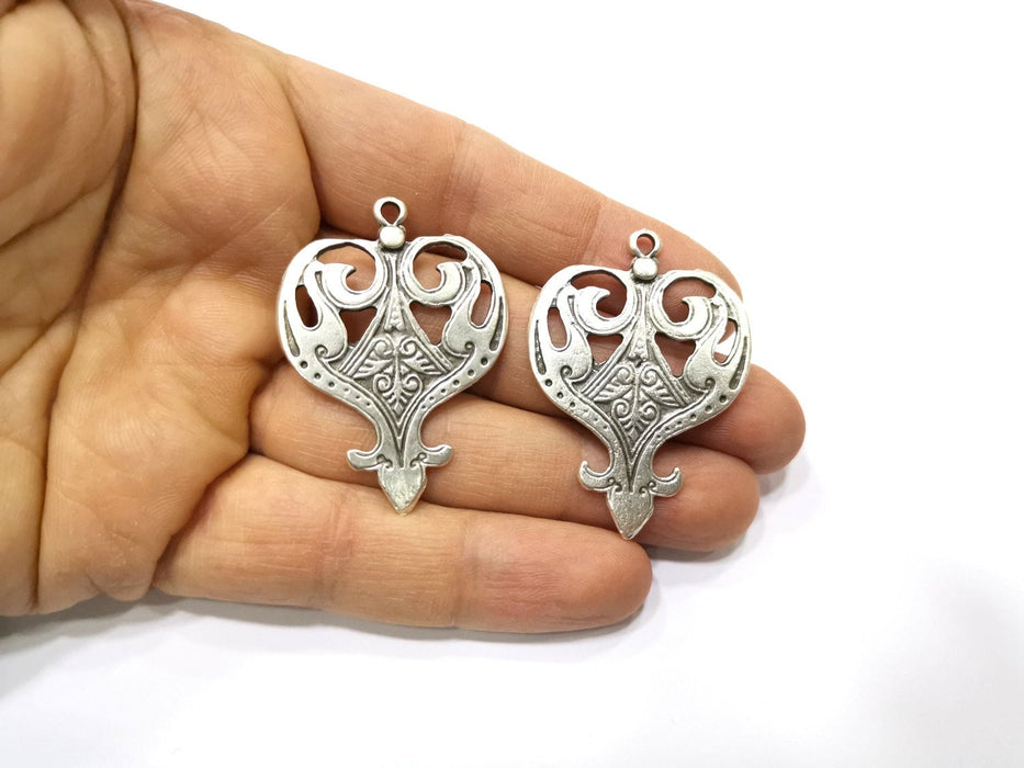 2 Silver Charms Antique Silver Plated Charms (47x34mm)  G17526