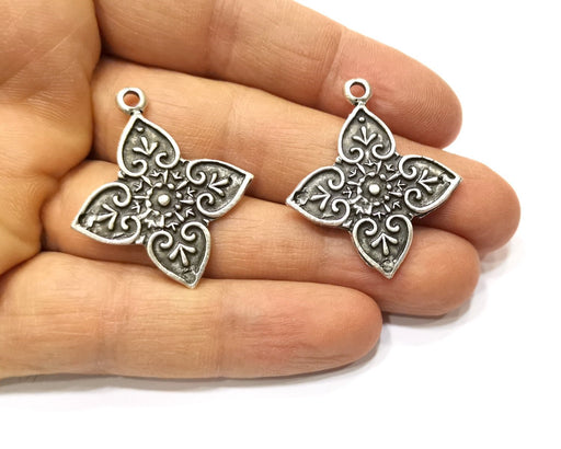2 Silver Charms Antique Silver Plated Charms (37x32mm)  G17540