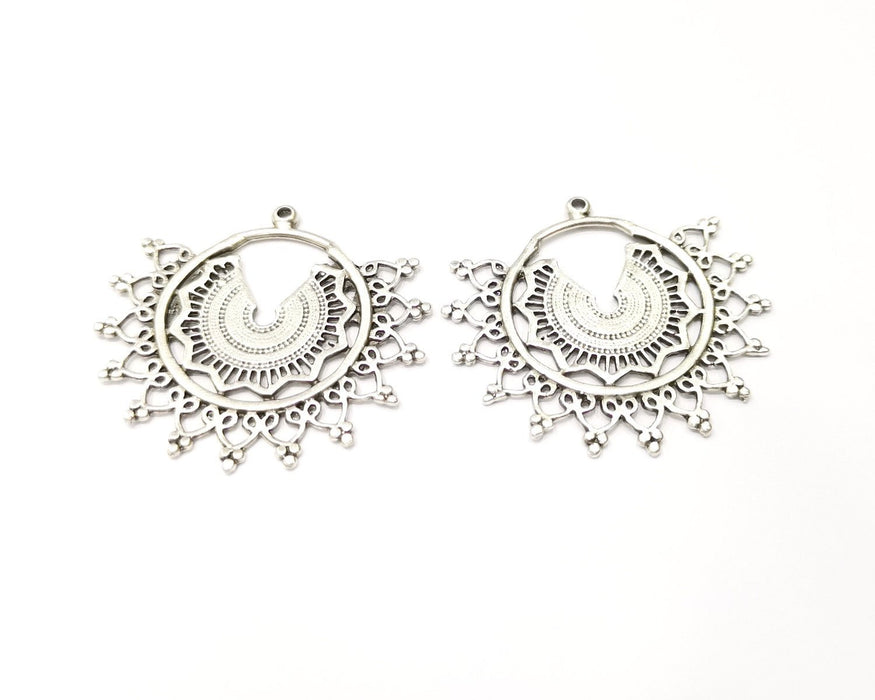 2 Silver Charms Antique Silver Plated Charms (43x40mm)  G17181