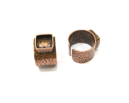 Copper Ring Settings inlay Ring Blank Mosaic Ring Bezel Base Cabochon Mountings (10x10 mm blank) Antique Copper Plated Brass  G17220