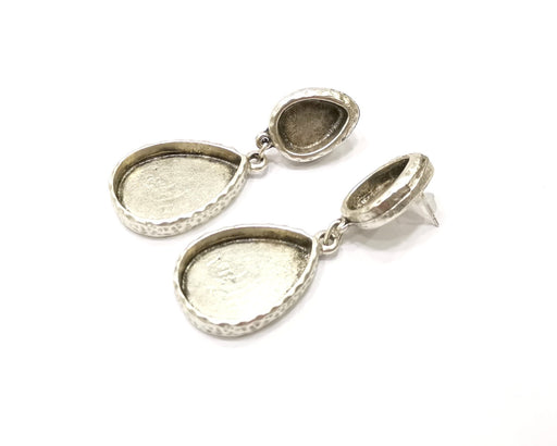 Earring Blank Backs Silver Base Setting Hammered Resin Blank Cabochon Base inlay Mounting Antique Silver Plated (25x18+14x10mm)1 Pair G15848