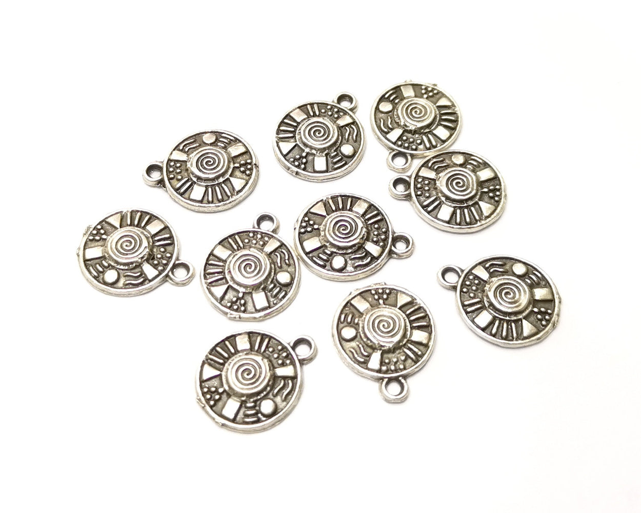10 Silver Charms Antique Silver Plated Charms (16x14mm)  G17475