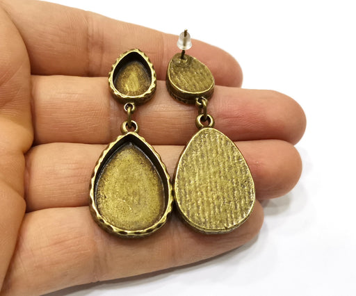 Earring Blank Backs Hammered Antique Bronze Resin Base inlay Blank Cabochon Mountings Antique Bronze (25x18x14x10mm blank) 1 pair G17491