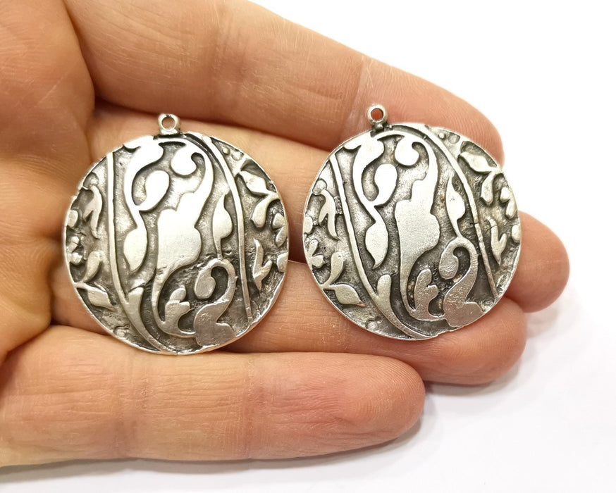 2 Silver Charms Antique Silver Plated Charms (35mm)  G17578
