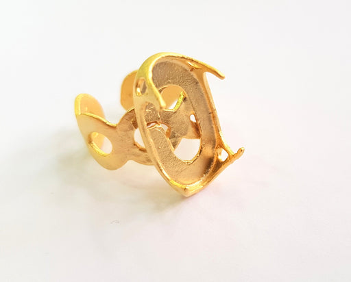 Gold Claw Ring Blank Ring Setting Cabochon Base Ring Mounting Adjustable Ring Bezel (22x12 mm) Gold Plated Brass G17912