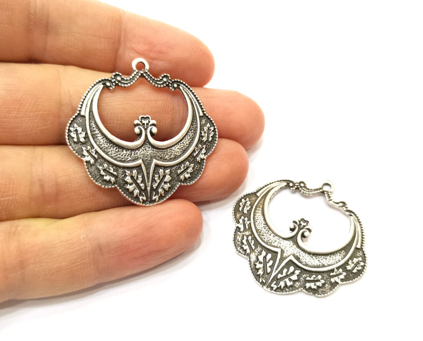 2 Silver Charms Antique Silver Plated Charms (37x37mm)  G17891