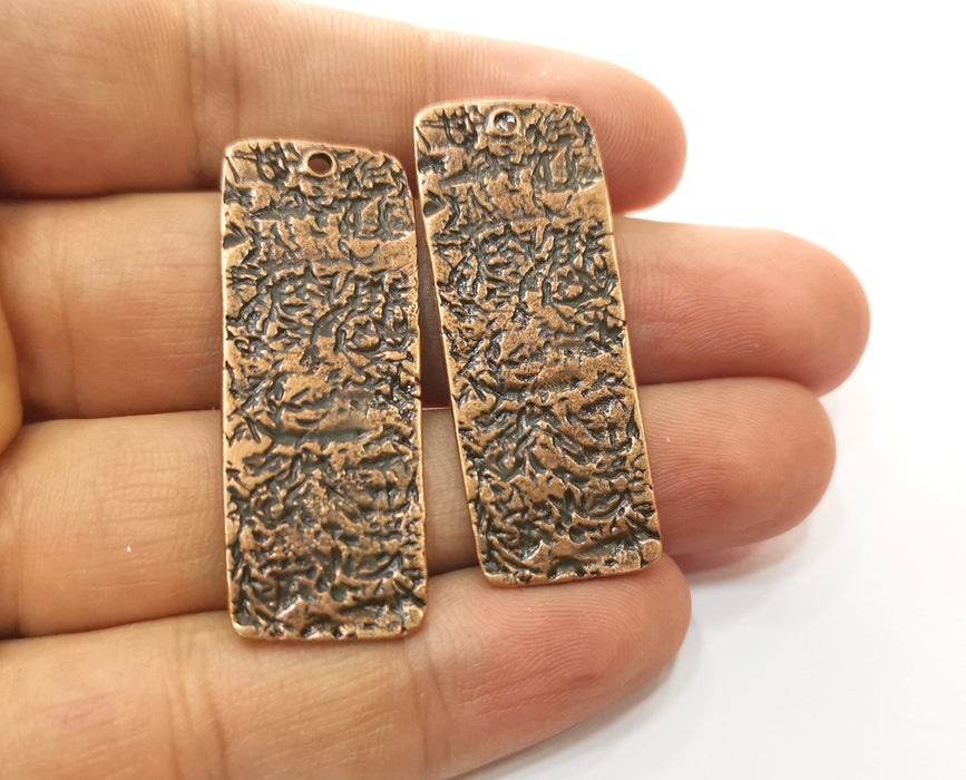 2 Copper Charms Antique Copper Plated Charms (45x17mm) G18497