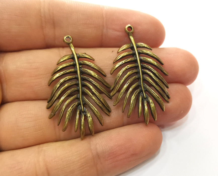 2 Monstera Leaf Charms Antique Bronze Plated Charms (40x24mm)  G18536