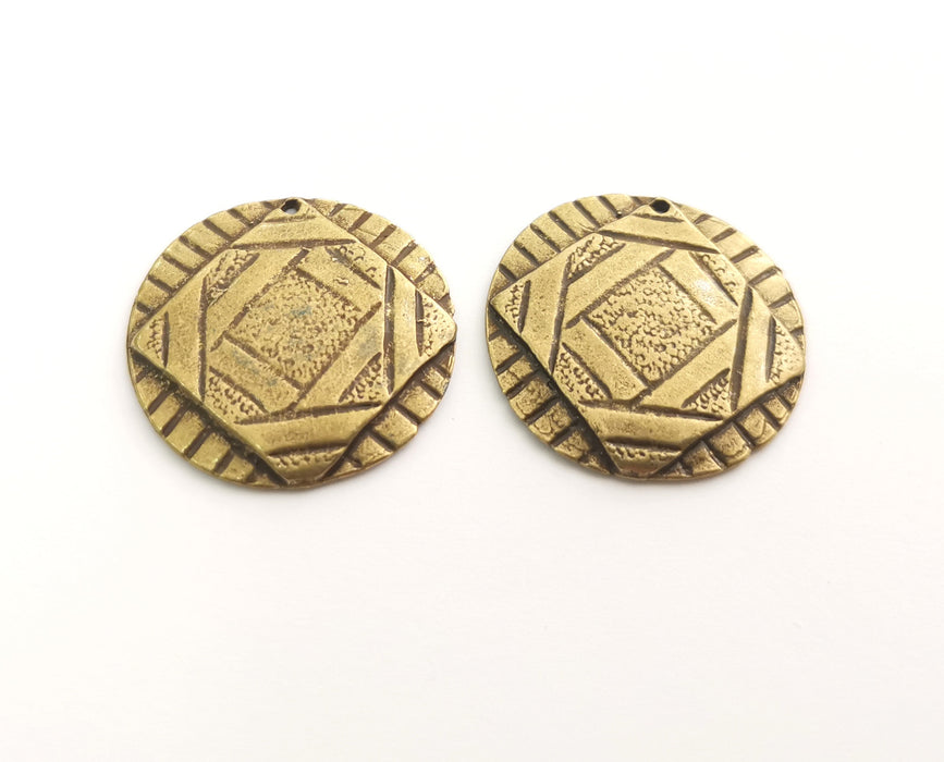 2 Antique Bronze Charms Antique Bronze Plated Charms (30mm)  G18581