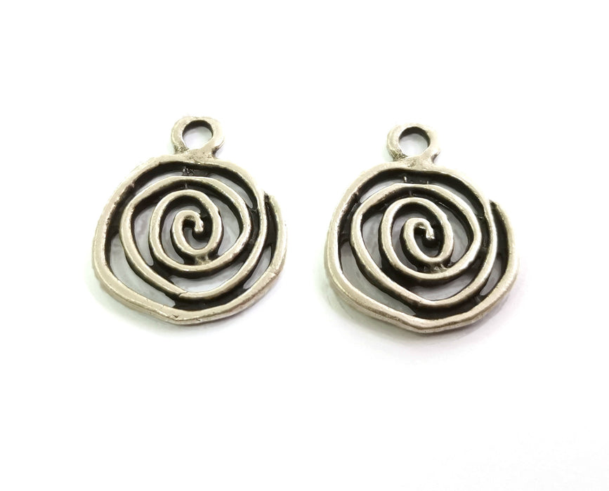 4 Spiral Charms Antique Silver Plated Charms (28x23mm)  G18597