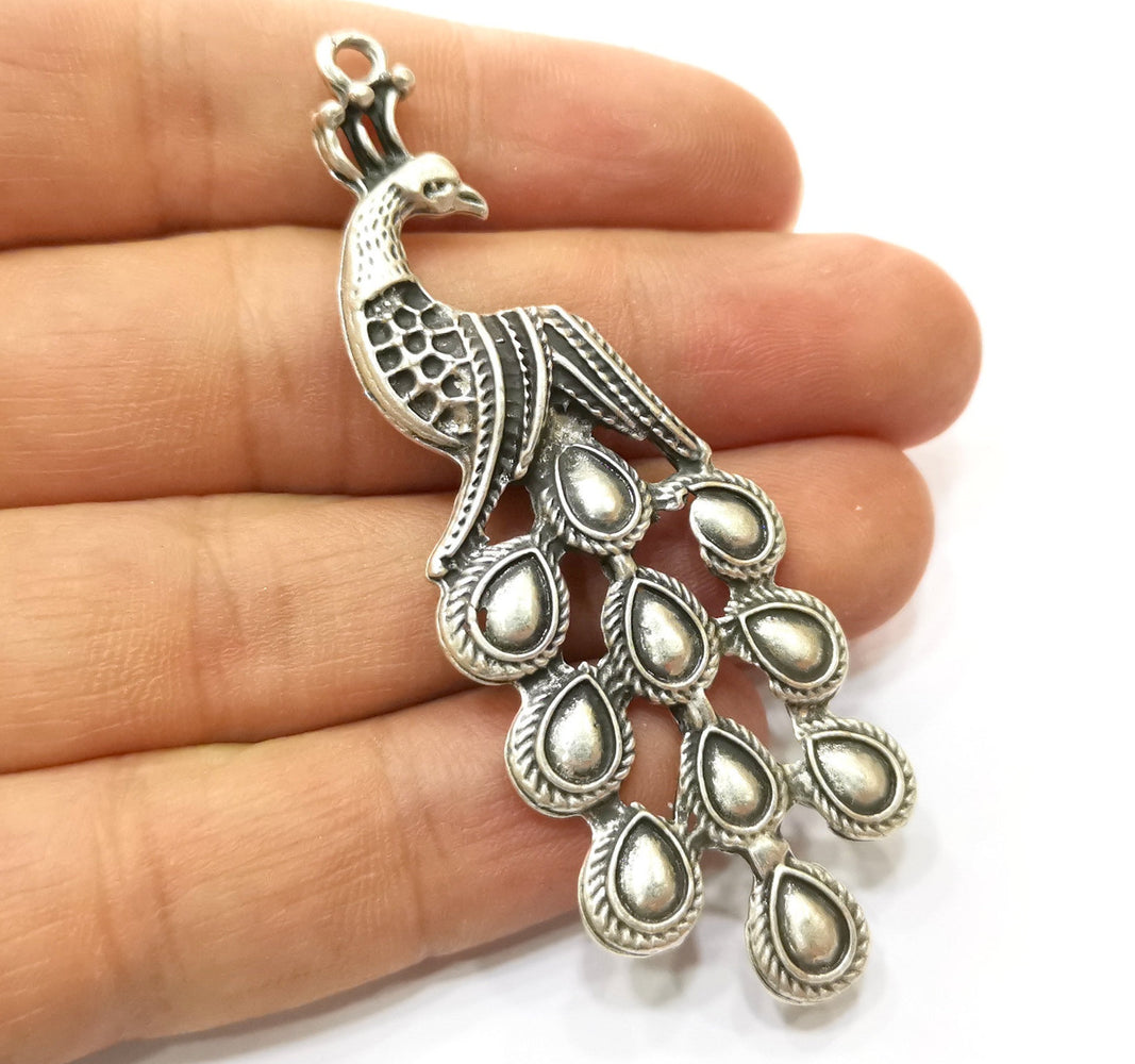120 pcs Peacock Charms Antique Silver Plated Charms (76x27mm)  G18121