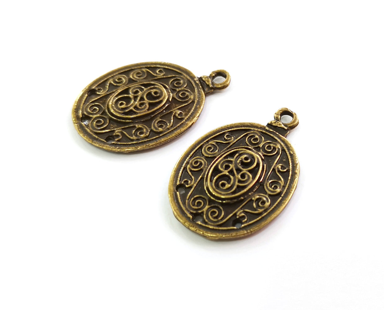 2 Antique Bronze Charms Connector Antique Bronze Plated Charms (37x25mm)  G18644