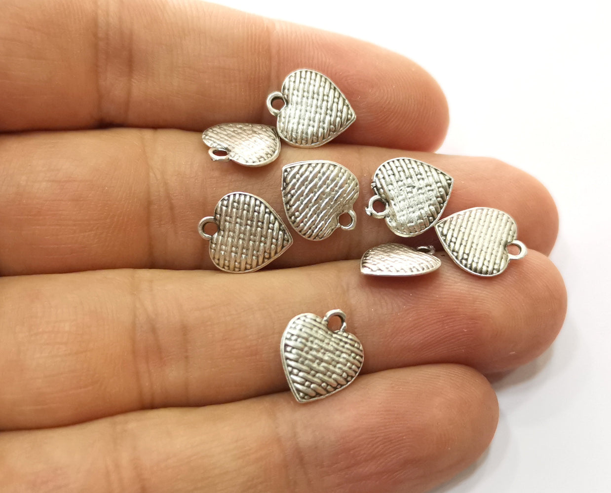 10 Heart Charms Antique Silver Plated Charms  (both side same) (12x10mm)  G18659