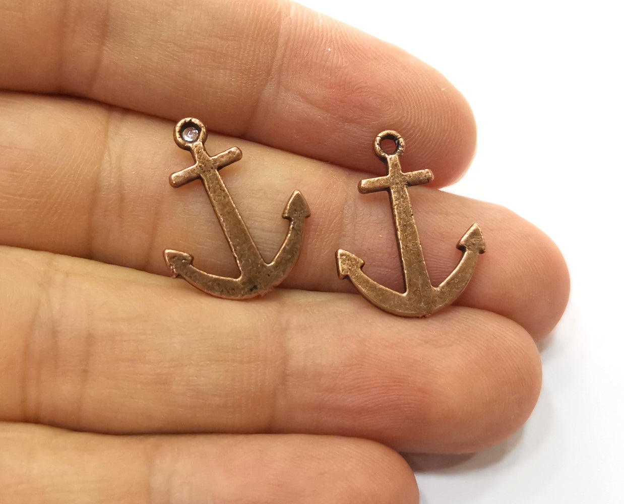 10 Anchor Charms Antique Copper Plated Charms (21x16mm) G18711