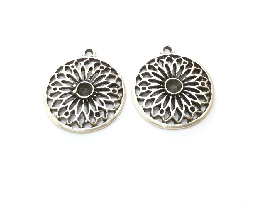 4 Silver Flower Charms Antique Silver Plated Charms (26x23mm)  G18713