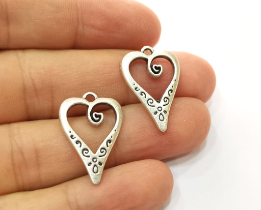 10 Heart Charms Antique Silver Plated Charms (25x17mm) G18715